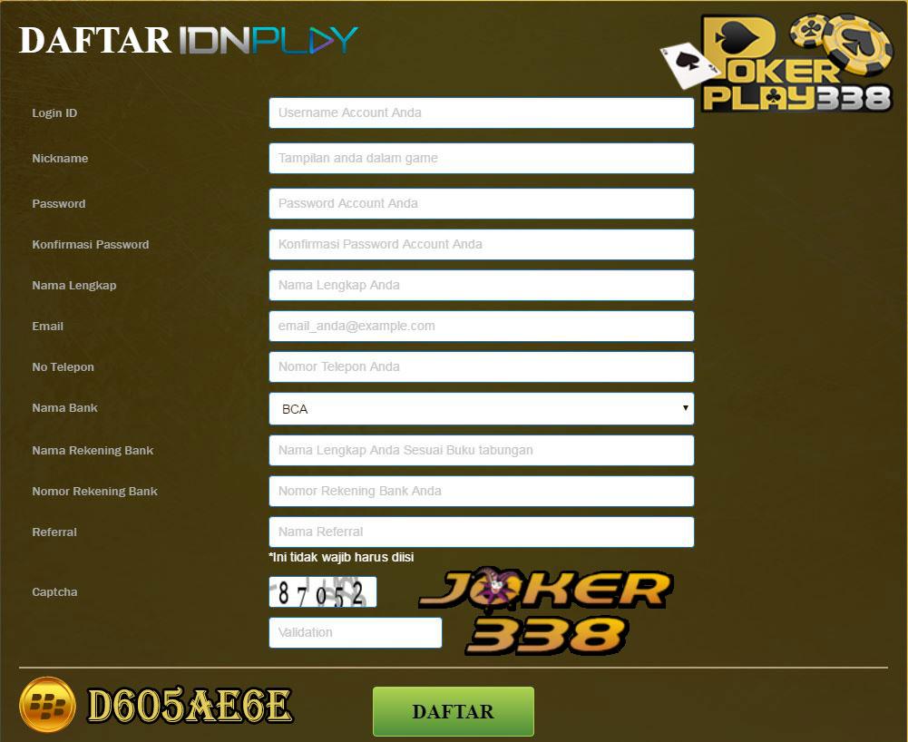Formulir pendaftaran pokerplay338