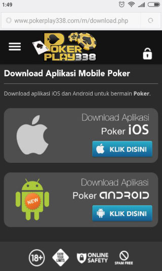 menu utama dari Pokerplay338